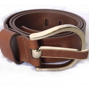 BANANA REPUBLIC BROWN LEATHER GOLD BUCKLE BELT S